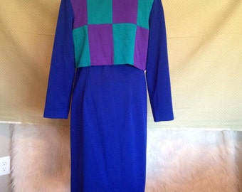 80s Dress - Womens Dress - Leslie Fay Dresses - Blue Dress - Vintage Dress