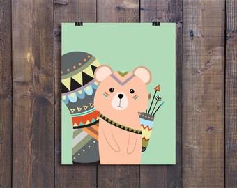 Tribal Squirrel - Nursery Wall Art, Printable Woodland Decor, Animal Play Room Art, Cute Kids Poster, Woodland Nursery Art, Baby Boy Gift