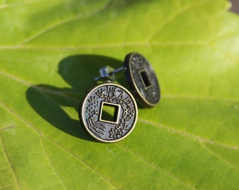 Chinese Good Luck Coins Button Earrings