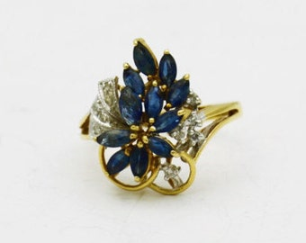 Antique Sapphire Diamond Ring, 14k Gold Flower Ring, Floral Ring
