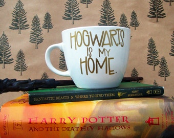 Harry Potter Mug || Hogwarts is my Home || Hand Lettered Coffee Cup || Gold and White Coffee Mug