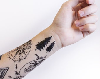 Tiny Pine Tree Temporary Tattoo, Collection of 5, Black Forest Tree Tattoo, Nature Tattoo