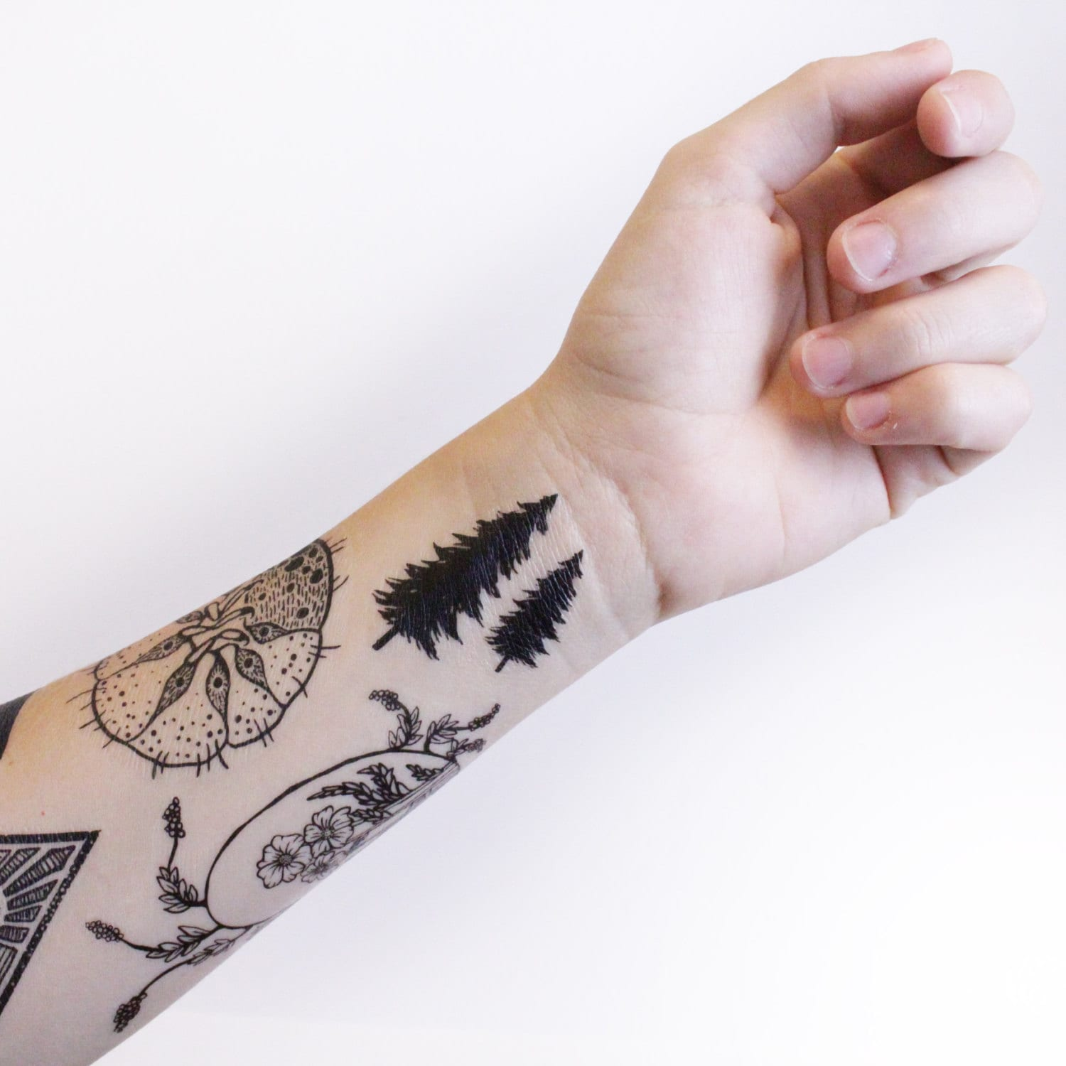 Tiny Pine Tree Temporary Tattoo, Collection of 5, Black Forest ...