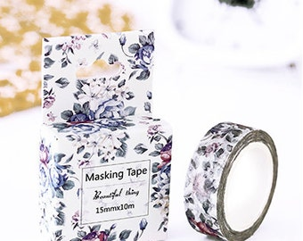 Purple floral Washi Tape, Masking Tape, Planner Stickers