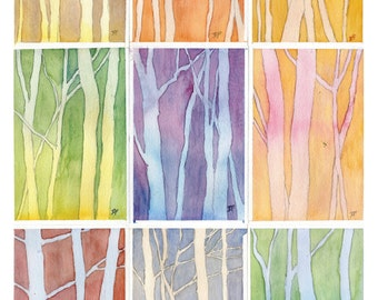 "Vermont Woodlands, Art poster, Archival digital print of Watercolor Paintings, 11"" x 17"" on 80lb Watercolor Paper"
