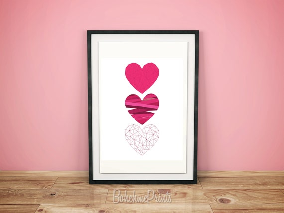 Wall Art Love Heart : Love home decor heart wall art pink
