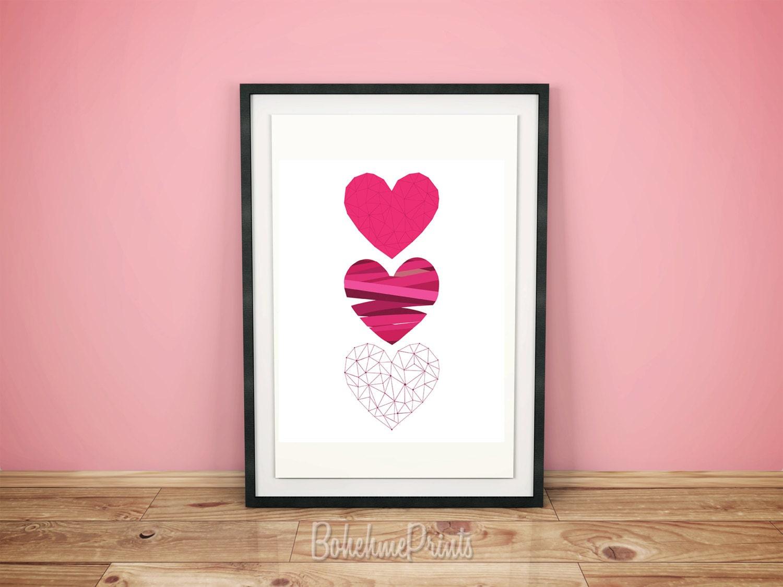 Decorative Wall Hanging Hearts : Love home decor heart wall art pink