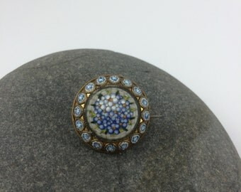 Light Blue and Gold Italian Micro Mosaic Brooch