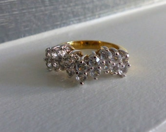 Vintage CZ Chevron Cluster Ring in 18KT GE Gold