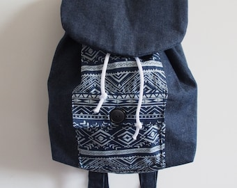 Aztec Denim Backpack
