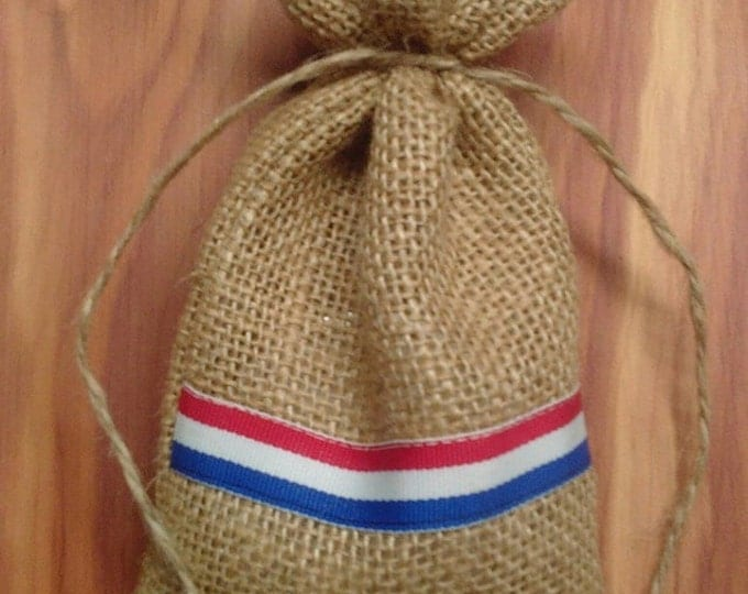 Patriotic Favor Bag, Red, White, and Blue Favor Bag,  Burlap Favor Bag