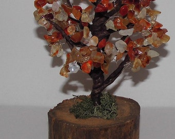 Softness of autumn: trees in gem stone - Chips of carnelian