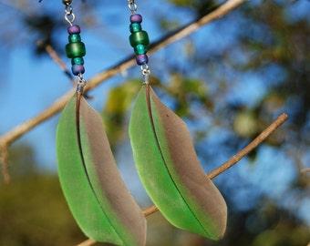 Green Parrot Feathers with Glass Beads