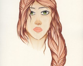 Drawing of girl with an auburn braid