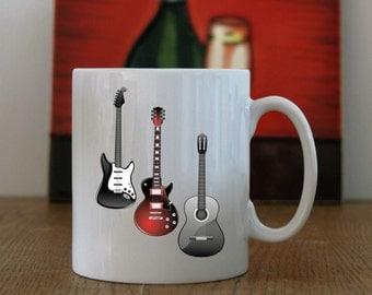 Ceramic Coffee Mug with Guitar print, Guitar Print Coffee Mug, Guitar Print, Printed Guitar Coffee Mug, Guitar coffee Mug, Guitars Mug