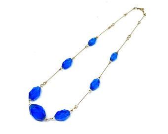 Vintage Art Deco Necklace | Vintage Necklace | Rolled Gold Necklace | Beaded Necklace | Blue Necklace | 1930s Necklace | Cobalt Necklace