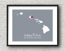 Hawaii Wedding Gift Hawaii Honeymoon Hawaii Map Hawaii Poster Hawaii Home Hawaii Sign Hawaii Wall Decor Hawaii Decor Bridal Shower Props Art