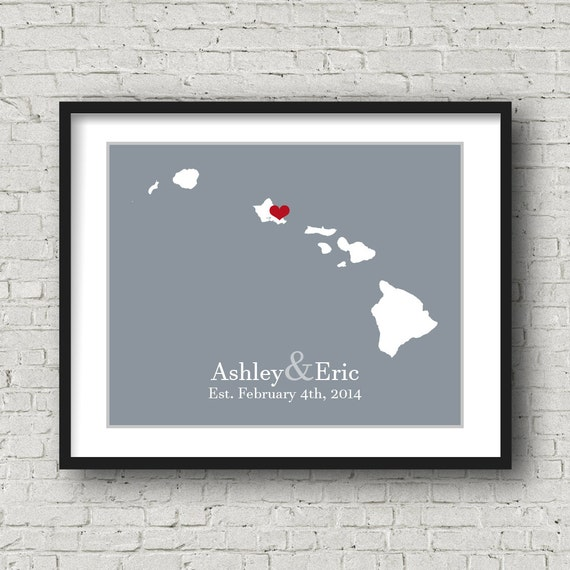 Hawaii Wedding Gift Hawaii Honeymoon Hawaii Map Hawaii Poster Hawaii ...