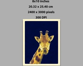 Instant Download, 8x10 in, Giraffe Watercolor Painting Art Printable Wall Art (1013) Downloadable Print At Home Decor