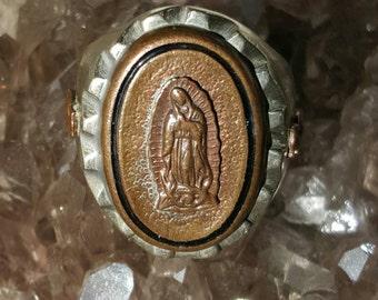 1940's Virgen de Guadalupe Mexican Biker Ring