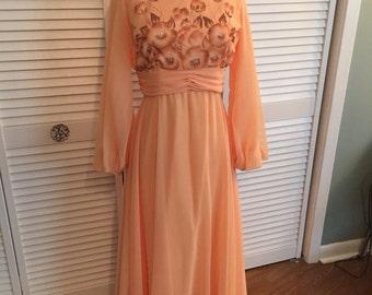 1970s peach floral chiffon formal maxi dress