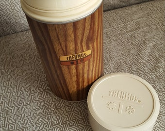 Vintage Wood Grain Thermos