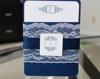 The Elinor Invitation - Handmade Elegant Lace Wedding Invitation