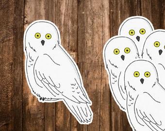 Hedwig Owl Stickers - Set of 5 Harry Potter Stickers - Snow Owl Sticker - Harry Potter Gift - Planner, Laptop, Notebook Decor - Hogwarts Art