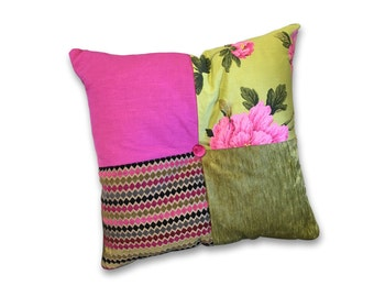Cushion & insert - bright pink and green floral stripes velvet fabrics