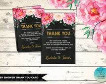 BABY SHOWER Thank You Card. Shabby Chic Custom Thank You Notes. Flower Baby Shower. Floral Baby Shower. Pink and Gold Party Favors. FLO1