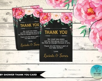 BABY SHOWER Thank You Card. Floral Custom Thank You Notes. Flower Baby Shower. Boho  Baby Shower. Pink and Gold Party Favors. FLO1