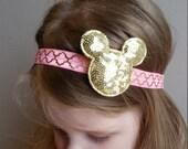 Large Sequin Gold Minnie Head on Pink & Gold Elastic Headband, Minnie Mouse Pink and Gold Headband, Disney Trip Headband, First Birthday