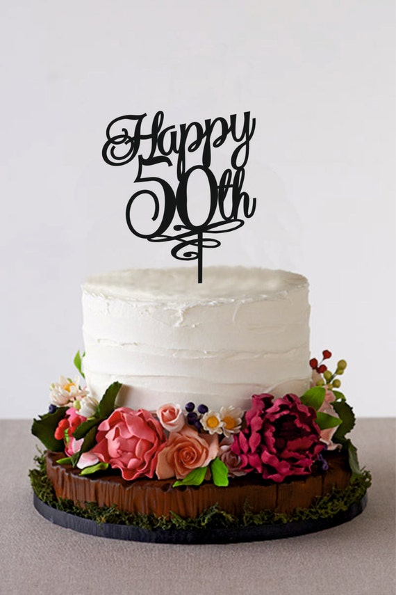 Happy 50th birthday cake topper 50 years anniversary cake - Th anniversary cake decorations ...