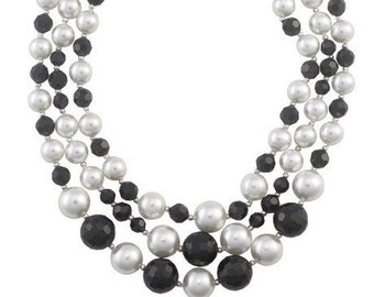 3 Strand Black and White Pearl and Crystal Necklace