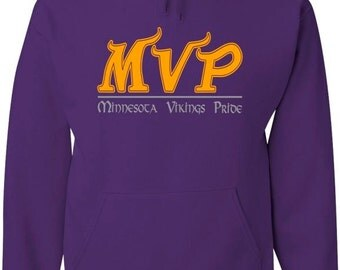 Purple hood sweatshirt with MVP (Minnesota Vikings Pride) design in silver and gold vinyl