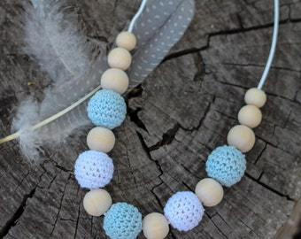 Pastel Blue and White Crochet and Wood Bead Necklace ~ Nursing Necklace
