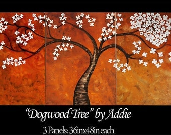 Dogwood Tree Oil Painting on 3 Panels