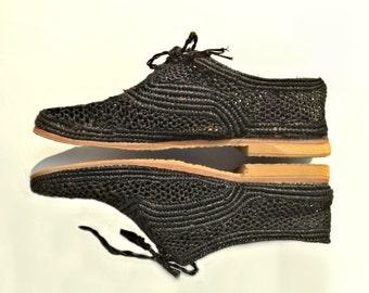 Black Shoes. Handmade Raffia Shoes. Women's Oxfords. Lace Up Shoes. Oxford Shoes. Raphia Women Flats. Dyed Straw Shoes. Black Raffia Oxfords