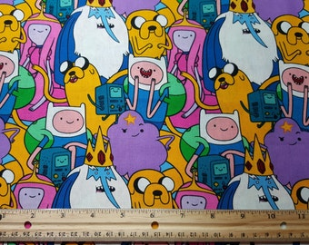 Adventure Time Fabric, by the yard or Fat Quarter, FQ, Cartoon Fabric, Finn, Jake, Beemo, Ice Kind, Princess Bubblegum, Lumpy Space