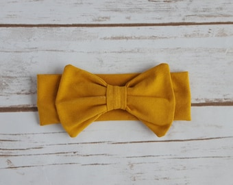 Mustard Knit Bow Headband