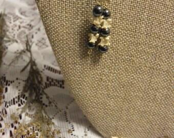 Hematite and Snake Vertebrae Earrings