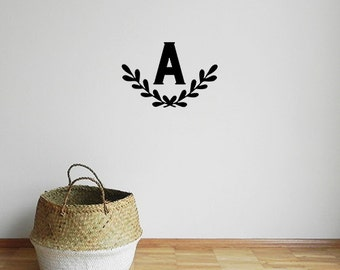 Nursery wreath decal - A4 - Wreath Decal -  Monogram