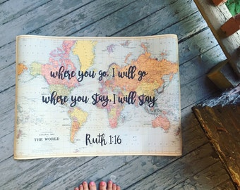 Ruth 1:16 Custom Lettered Map - Hand Lettered Vintage Map, Travel Calligraphy Quote, Lettered Scripture, Bible Verse