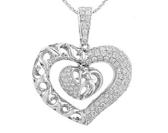White Gold 18K heart pendant with diamond 0.94ct