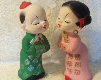 Japanese Lady and Man Salt and Pepper Shakers, Japanese People Salt and Pepper Shakers