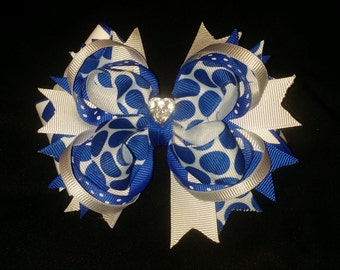 Blue and white  extravagant bow