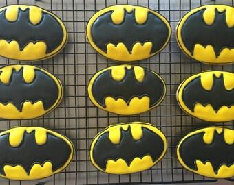Batman sugar cookies.  Order is for one dozen (12) cookies
