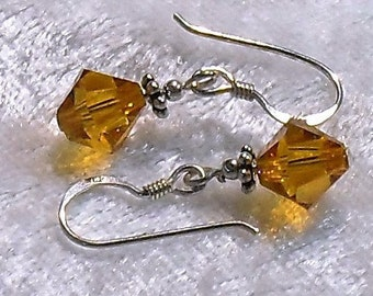 Swarovski Crystal Dangle Earrings, 8mm Bicone with Sterling Silver components