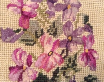 Embroidery on Needlepoint Oval Pansies
