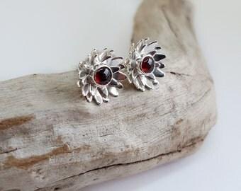 Dainty Silver Studs - Garnet Studs - Simple Sterling Silver Ear Studs - Daisy Earrings - Flower Bridesmaid Earrings - Floral Jewellery